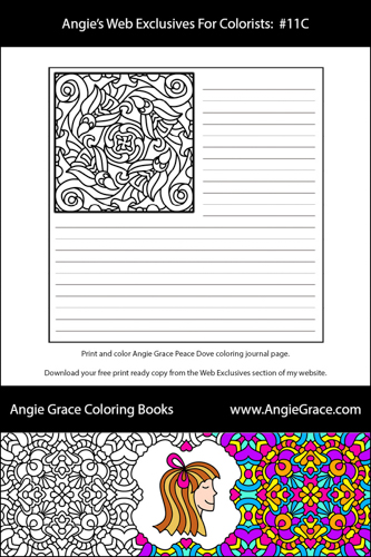 Angie Grace Peace Dove Pattern Coloring Journal Version